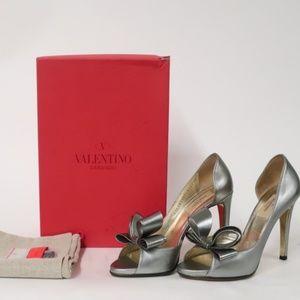 Valentino Bow d'Orsay Pump Silver
